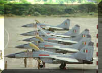 Mig-29B planes line up at a fighter base